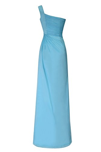 Dasior Une Robe De Soirée En Mousseline De Soie Longue Bandoulière Avec Fermeture À Glissière Côté Bleu Royal