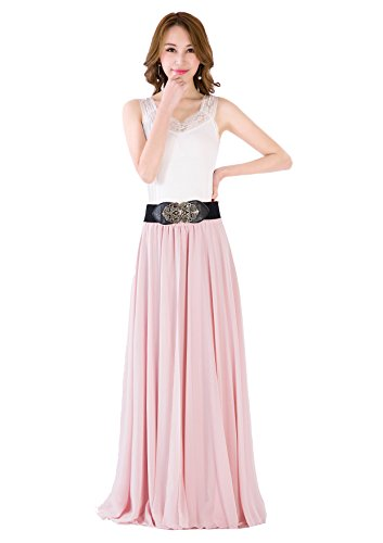 Women Summer Chiffon High Waist Pleated Big Hem Full/Ankle Length Beach Maxi Skirt(3XL /Nude Pink)