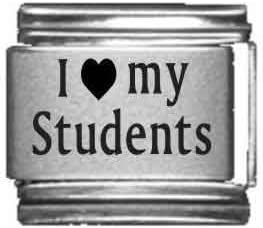 I Heart My Students Laser Etched Italian Charm