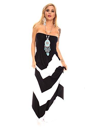 Young Aloud STRIPE TUBE TOP STYLE ELASTIC WAISTBAND CASUAL MAXI DRESS L (Ladies Elastic Tube Dress)