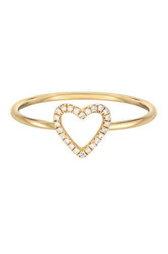 Diamond open heart ring, 14k solid gold, pave diamond