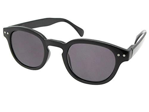 Lightweight Retro Full Lens Sun Reader (Black Frame-Gray Reading Lenses, 2.50) ()