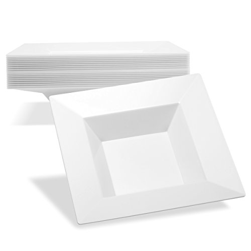 Small Plastic Bowls White Dessert Plates | Disposable Soup Bowl 5 oz Set 40 | Square | Dipping Bowls | Small Serving Bowl | For Appetizer Condiment Hot Sauce Salsa (Small Rim Soup Plate)