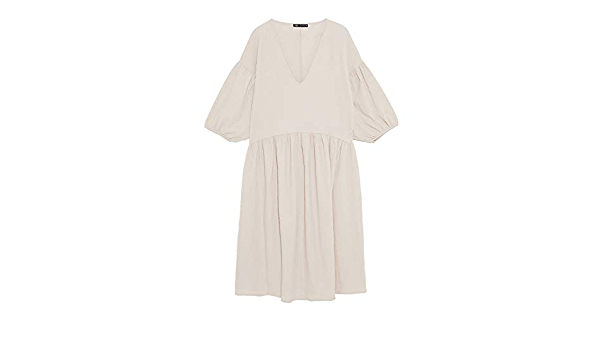 Zara 5039/806/712 Vestido con Textura para Mujer - Marfil ...