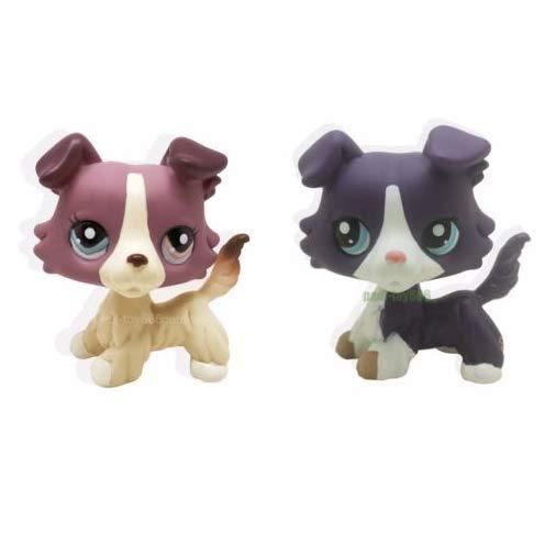 Pet Shops 2pcs Littlest Brown Collie Dog Puppy Blue Eyes Figure LPS #1676 #1542 ()