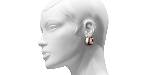Clio Blue Boucles d'oreilles créoles en argent 925, dorure or rose 18K, 6.4g, Ø25mm