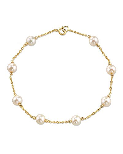 - THE PEARL SOURCE 14K Gold 6-7mm Round White Freshwater cultured Pearl Alessia Tincup Bracelet for Women