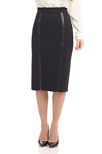 Rekucci Collection Women's Below The Knee Pencil Skirt with Faux Leather Detail (Fully Lined Pencil Skirt)