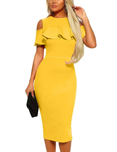 Mizoci Women's Sexy Cold Shoulder Ruffle Bodycon Evening Party Club Midi Dress,Large,Yellow ()