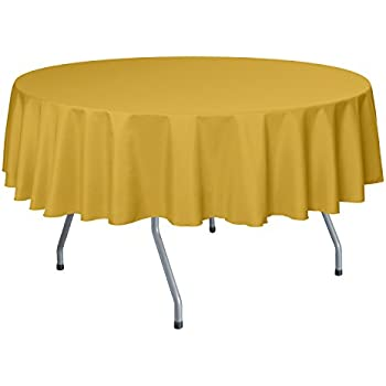 Ultimate Textile 60 Inch Round Polyester Linen Tablecloth Goldenrod