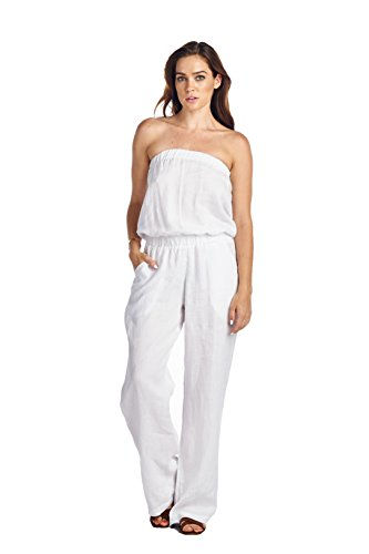 High Style Women's Strapless Full length 100% Linen Jumpsuit (1402, White, S) (Linen Strapless)