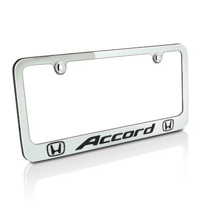 Honda Accord Dual Logos Chrome Metal License Plate Frame, Lifetime ()