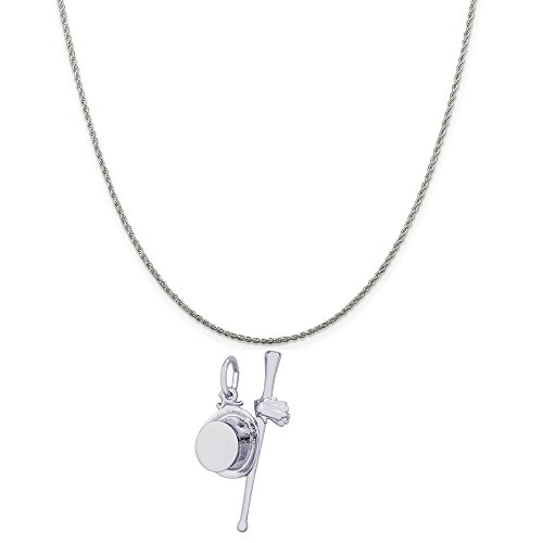 Rembrandt Charms Sterling Silver Top Hat, Cane and Gloves Charm on a Rope Chain Necklace, 20