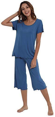 NEIWAI Women's Pajamas Short Sleeve Sleepwear Bamboo Pj Set Prussian Blue L ()