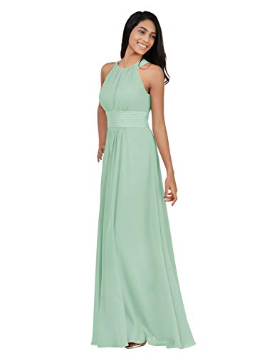 Alicepub Chiffon Bridesmaid Dresses Long for Women Formal Evening Party Prom Gown Halter, Mint Green, US12