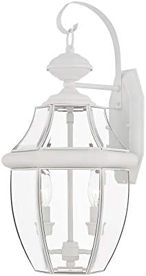 Livex Lighting 2251-03 Outdoor Wall Lantern with Clear Beveled Glass Shades, White