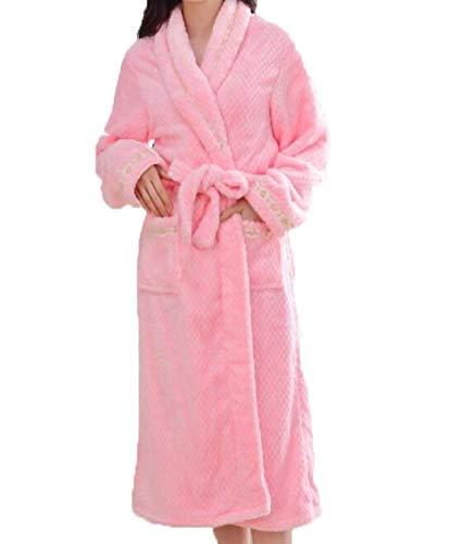 Camisón Pink Engrosamiento Para Modernas Mujer De Casual Sólido Cálido Albornoz Los Bata A Hombres Servicio Baño Color Domicilio Invierno gUwq5xI7EE