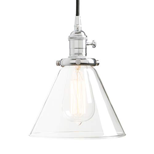 (Permo Industrial Vintage Pendant Light with Funnel Flared Glass Clear Glass Shade 1-Light Ceiling Fixture (Chrome))