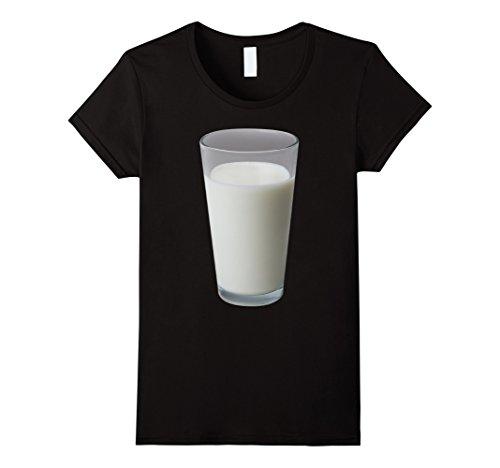 Milk Woman Costume (Womens Glass Of Milk Costume T-Shirt Medium Black)