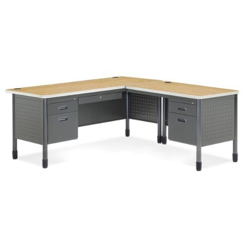 (OFM Mesa Series L-Shaped Steel Office Desk with Laminate Top, Right Pedestal Return and Oak Top - Durable Corner Utility Desk (66366R-OAK))