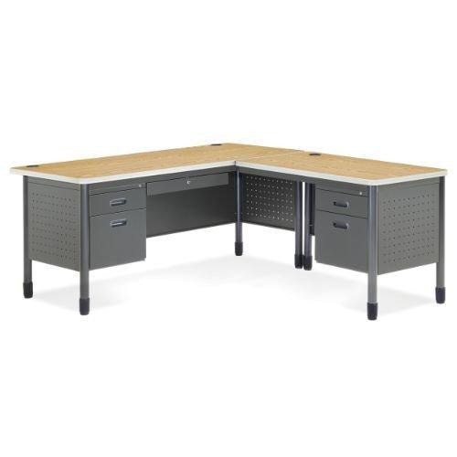 OFM Mesa Series L-Shaped Steel Office Desk with Laminate Top, Right Pedestal Return and Oak Top - Durable Corner Utility Desk (66366R-OAK)