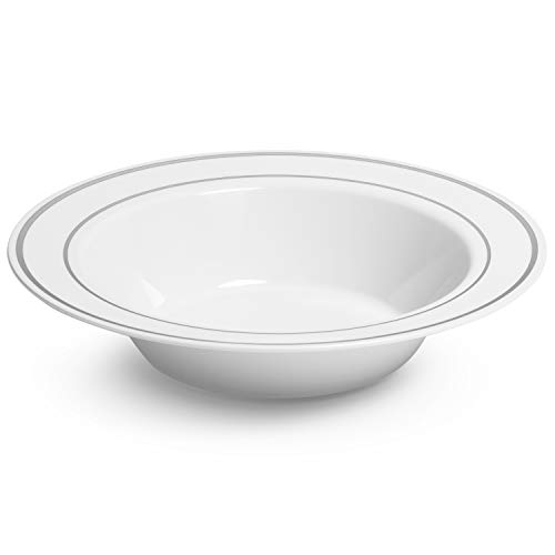 Silver Rimmed White Bowls - 12 ounce - 50 Count - Hard Plastic - Disposable or Reusable - Dessert Bowls - Salad Bowls- Cereal Bowls - Pasta Bowls - Ideal for Weddings, Parties, Gatherings & Events 12 Oz White Plastic Bowl