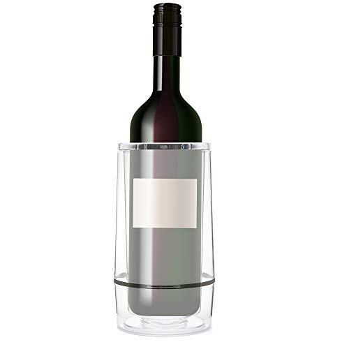 Clear Acrylic Double Walled Iceless Wine Cooler |Insulated Wine Chiller |Place Pre-Chilled Wine In The Wine Cooler And Enjoy Hours Of Cold Wine | Durable Drink Holder| For Party, Home, Bar and Picnic