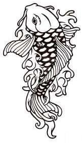 Pez koi tatuaje chino , pegatinas vinilo adhesivo, - 60cm Altura ...