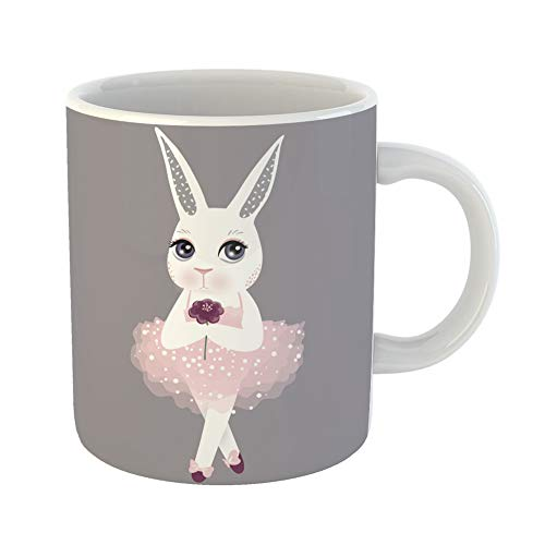 Emvency Coffee Tea Mug Gift 11 Ounces Funny Ceramic Cute Bunny in Pink Dress Happy Easter Cartoon Rabbit Girl Funny Animals Gifts For Family Friends Coworkers Boss Mug