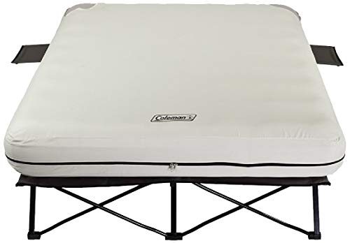 - Coleman Queen Airbed Folding Cot with Side Tables and 4D Battery Pump (Certified Refurbished)
