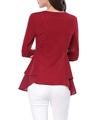 Lunga Lato Tops di Collo Rot Loto T Moda Irregolare Maglie Casual Rotondo Foglia Bluse Primavera Donne Maglietta Camicie e Jumper Cime Autunno Manica Shirt a vqwtxaU