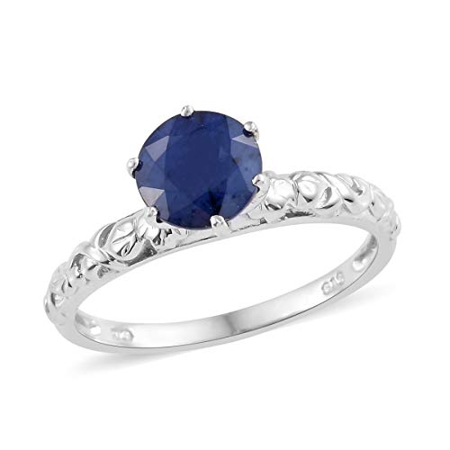 Solitaire Ring 925 Sterling Silver Platinum Plated Round Diffused Blue Sapphire Gift Jewelry for Women Size 7 Cttw 2 - Blue Round Solitaire Sapphire