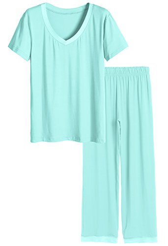 Latuza Women's V-Neck Short Sleeves Pajama Set S Green]()