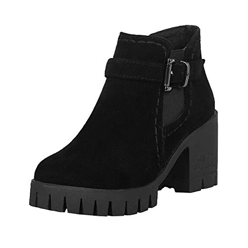 Inkach Womens Ankle Bootie   Faux Suede Winter Short Snow Boots - Buckle Straps Chunky Heel Short Winter Boots B07H5L4RFZ Shoes bf1129