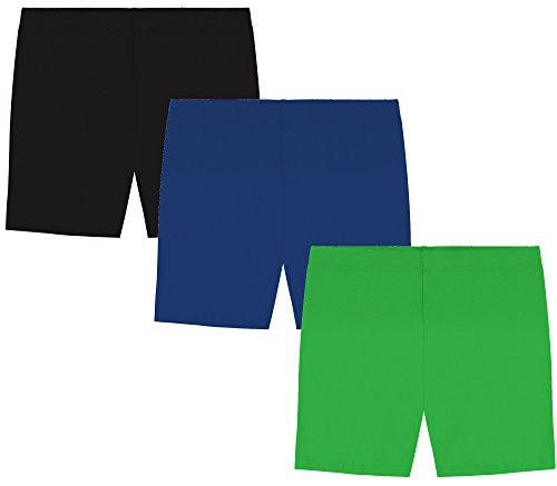 My Way Girls' Value Pack Solid Cotton Bike Shorts - Black, Royal Blue, and Kelly Green - -