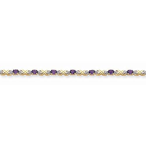 Icecarats Créatrice De Bijoux 14K Améthyste Diamants Bracelet En 7 Pouces