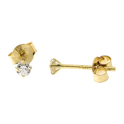 14k Yellow Gold Cubic Zirconia Stud Earrings, 2mm (0.06ctw) 14k White Gold Six Prong