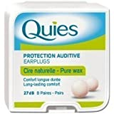 Quies Earplugs Natural Wax 8 Pairs 27 dB Noise Reduction Barrier Against Noise Pack Of 1 by Quies