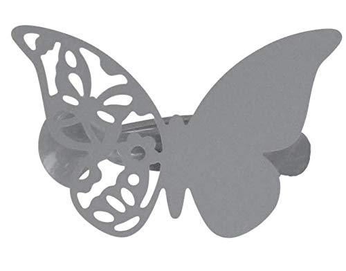 EVIDECO L309493 Metal Butterfly Clip Big Size Mariposas Set of 2-Grey, 3