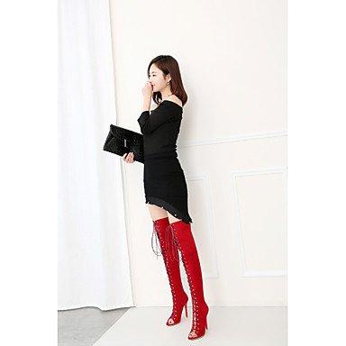 Talones de las mujeres Primavera Verano Otoño Otro de cuero oficina y carrera del partido y vestido de noche del talón de estilete de la cremallera con cordones Negro Rojo Black