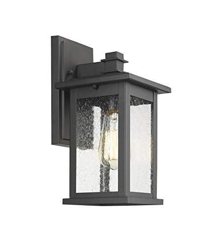 Emliviar Outdoor Wall Mount Lights 2 Pack, 1-Light Exterior Sconces Lantern in Black Finish with Clear Seeded Glass, OS-1803EW1-2PK by EMLIVIAR (Image #2)