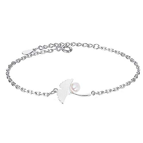 - TOPOB Beautiful Women's Bracelet, Elegant Crystal Ginkgo Biloba Pearl Four-Leaf Clover Hand Chain Party Jewellery (Silver)