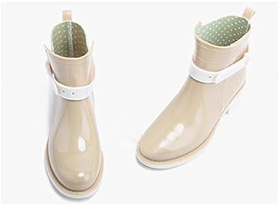 Anna&zero® Fashion Martin Short Ankle Rain Boots Healthy Rubber with Buckles (US5.0=EUR35==UK2.5=CN35=22.5CM, Khaki)