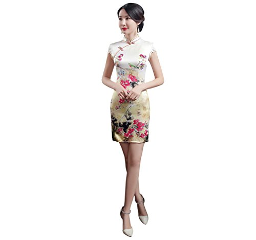 Acvip Qipao Fendu Asiatique 3 Cheongsam Femme Avec Courte Multicolore Couleurs Robe Chinoise 6wAqB