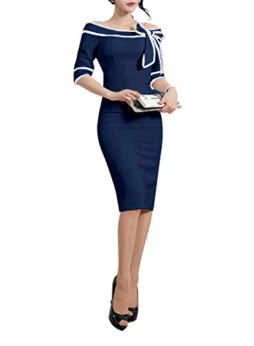 HELYO Women's 1950s Slim Half Sleeve Wear to Work Casual Office Pencil Dress 172 (S, Drak Blue)