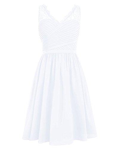 HUINI Lace Sheer V-cou Court en Mousseline de Soie Robes de Mari¨¦e Mariage Robes de Bal Size 46