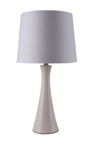 Ore International 31179IV 26-Inch Ceramic Ribbed Table Lamp, Ivory