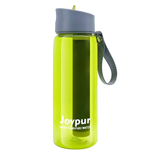 joypur Portable Filtered Water Bottle - Emergency Water Purifier with 3-Stage Integrated Filter Straw for Camping Hiking Backpacking