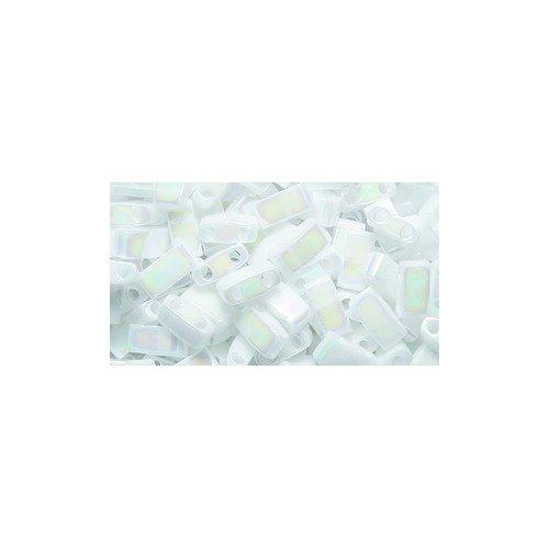 - Miyuki Half Tila TLH471, Two Hole Bead, 5mm, White Pearl Aurora Borealis Finish, 10-Gram/Pack