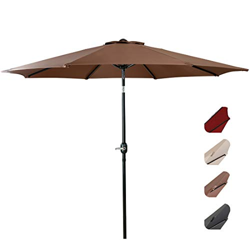 EASELAND Patio Umbrella 9-Feet Outdoor Table Market Umbrella Push Button Tilt and Crank Garden Parasol with Crank Winder, 8 Ribs, Brown